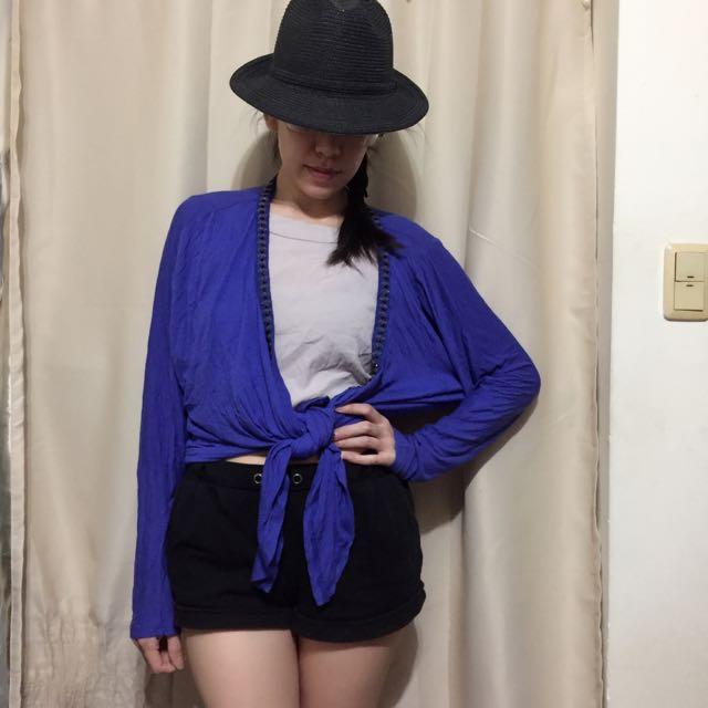 NET寶藍色薄外套罩衫