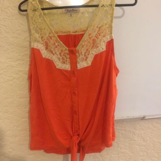 Orange & Green Singlets W/lace Size S