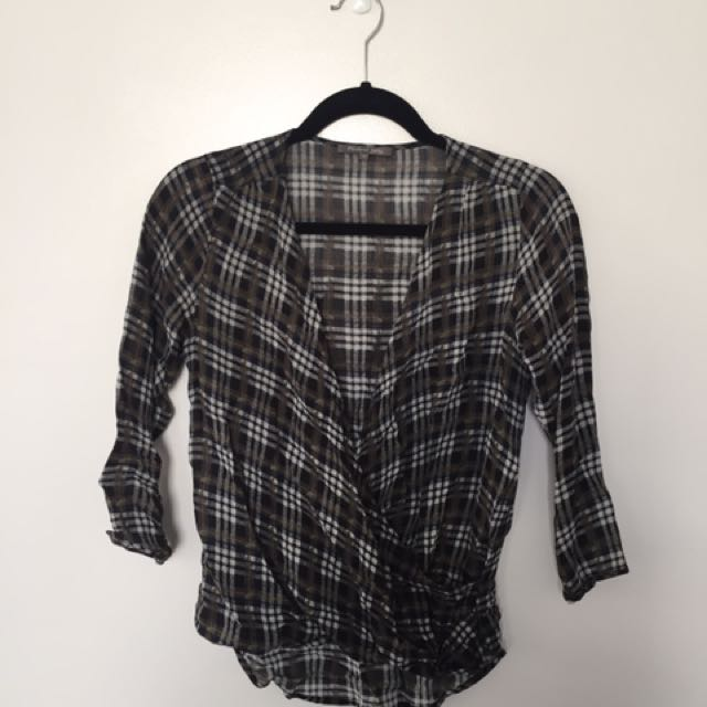 Plaid Wrap Crop Top