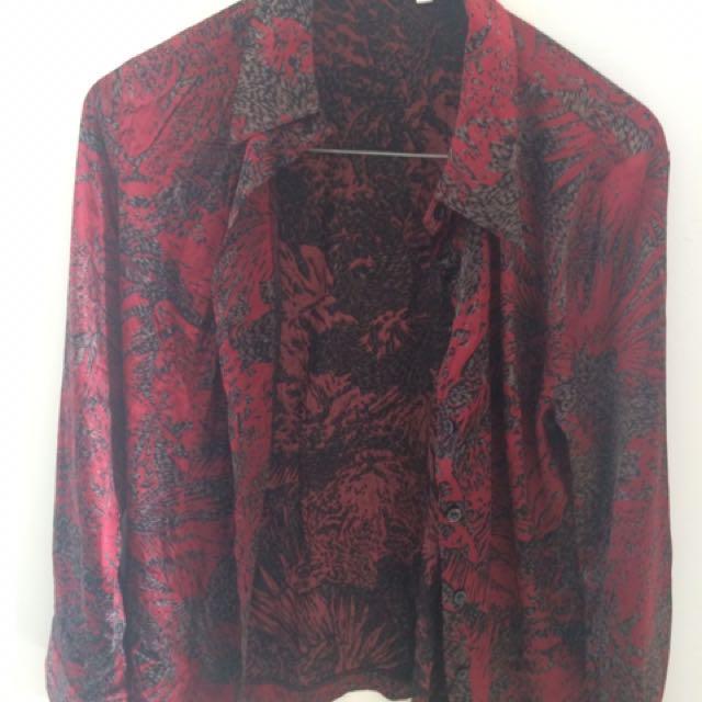 Red Black Print Silk Shirt
