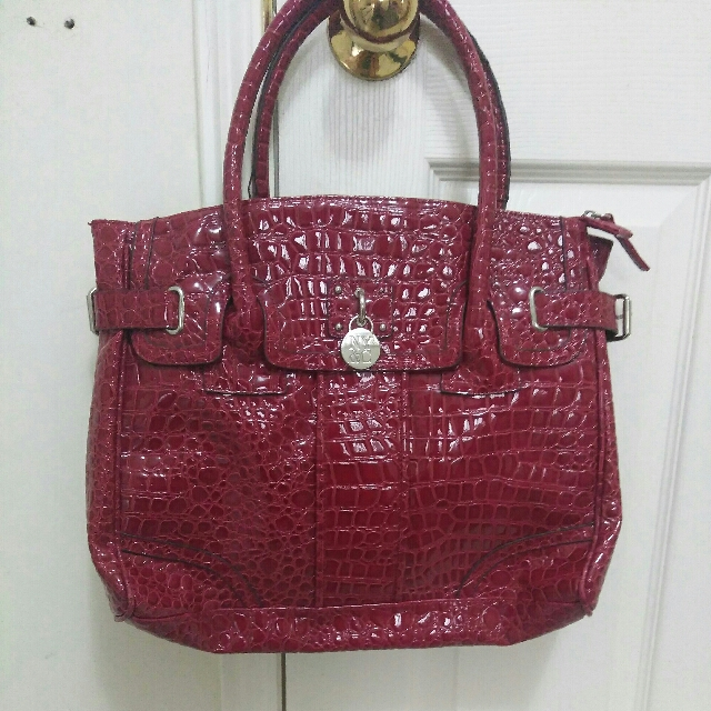Red Faux Snake Skin Purse