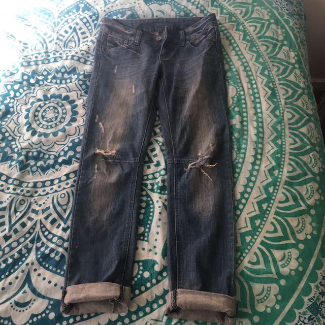 Ripped Boyfriend Style Jeans