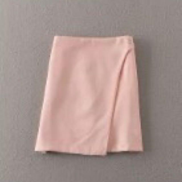 S粉色不規則a字裙
