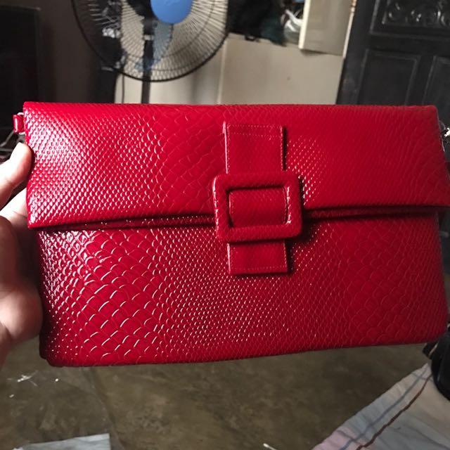 Snake Skin Bright Red Purse Clutch Bag
