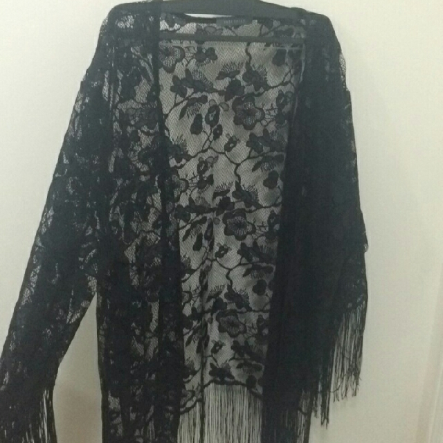 Suzy Shier Lace Fringed Cardigan