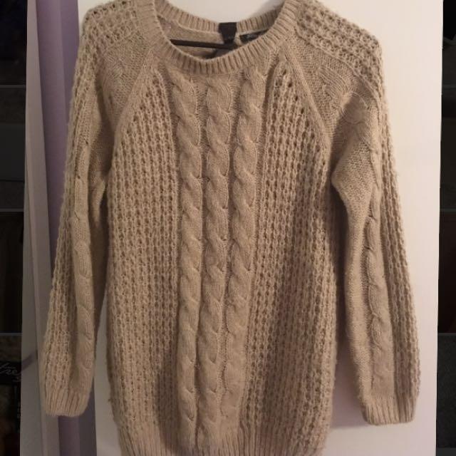 Tan/light Brown Pullover Dress Sweater