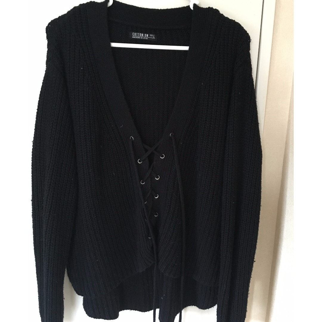 Tie up knit jersey