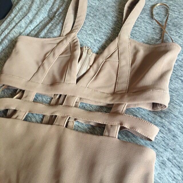 Tobi- Nude Cut Out Dress