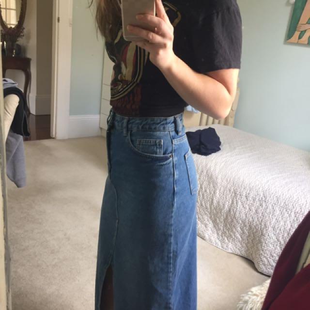 Topshop Long Denim Skirt
