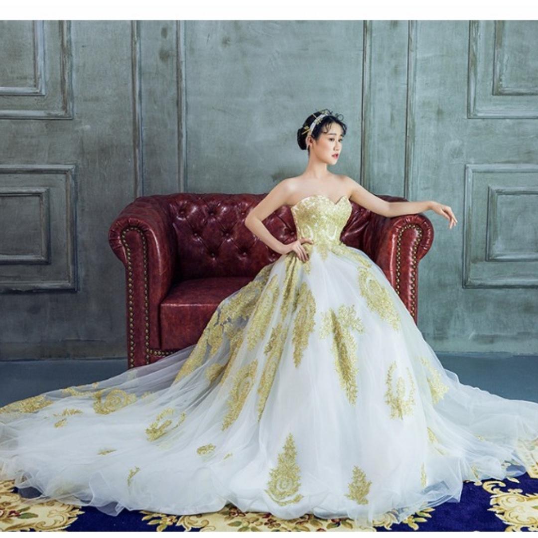 White & Gold Wedding Dress Evening Gown Long Train Formal D&D DND ...