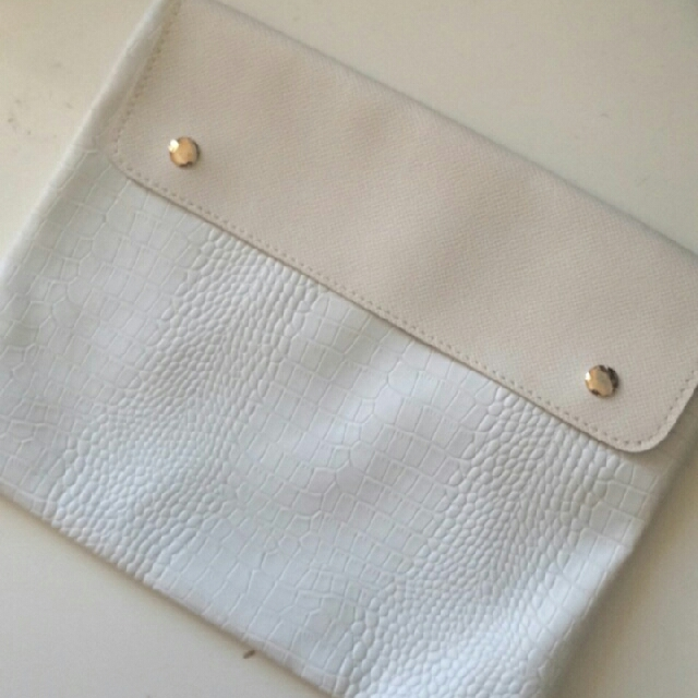 White Faux Leather Pouch