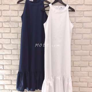 🚚 魚尾裙擺長洋裝(白)