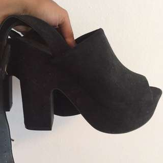 Black Platform Strap Heels