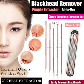 Blackhead Pimple Needle Poker Stainless Steel Rose Gold 5 Piece set With Case Hot Seller