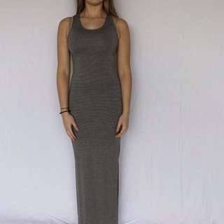 Stripped Split Leg Maxi Dress