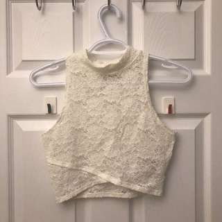 White High neck Lace Crop Top