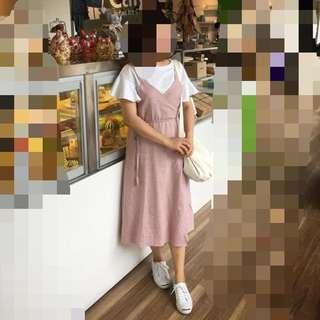 正韓 粉紅兩穿長洋裝