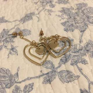 Cute Gold Dangly Heart Earrings