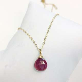 14k Gold Filled Ruby Stone Necklace