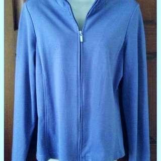 Blue Cotton Chinese Collar Jacket