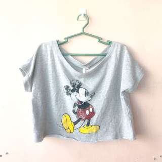 BNWT Gray Mickey Mouse Crop Top