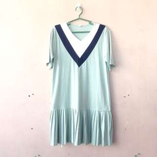 Mint Green Korean Pleated Dress