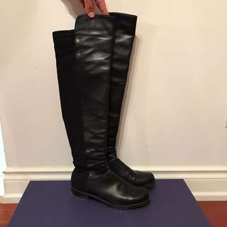Stuart Weitzman The 5050 Boot Black Leather Size 7 (37)