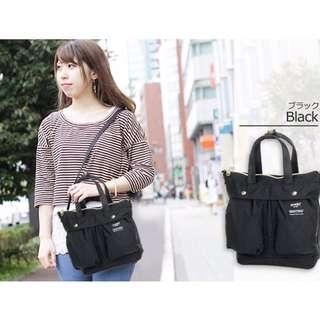 ☆現貨☆日本 anello系列最新款 雙口袋2用包 肩背包 手提包 大開口包 黑色款