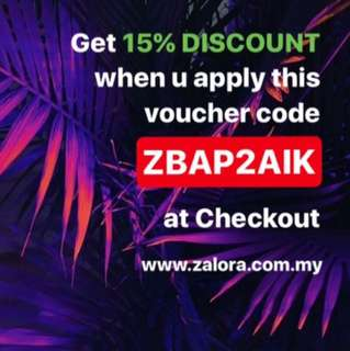 Zalora 15% Discount Voucher Promo Code