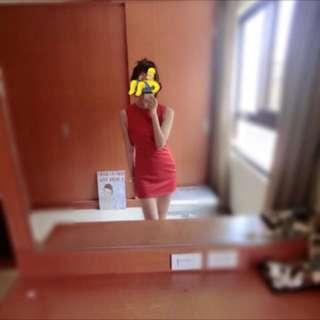 🚚 韓國stylenada 紅色小露腰間連身裙