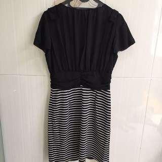 Black stripe Hongkong dress