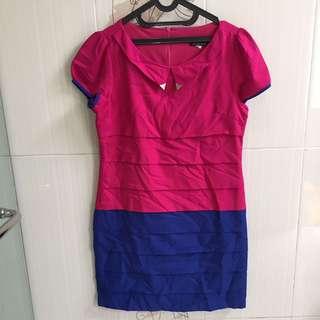pink & electric blue Hongkong dress