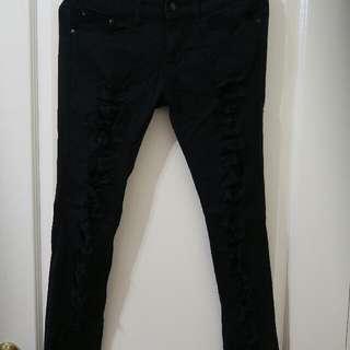 [長褲] 黑色刷破內搭褲
