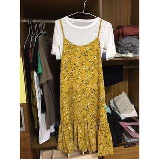 兩件式 芥末黃 碎花連身裙