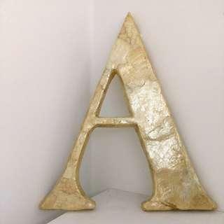 歐風鑲貝殼英文字母裝飾:A