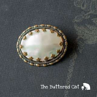 Antique Mother-of-pearl brooch, simple elegance