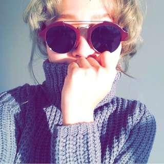 酒紅色復古造型雷朋墨鏡太陽眼鏡