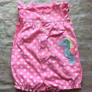 Carter's 粉紅色恐龍點點短袖連身衣