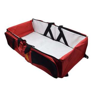 3 in 1 Diaper Bags Portable Crib Changing Station & Travel Bassinet Baby Travel Bed (Red)