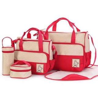 5-piece Baby Changing Diaper Nappy Bag Handbag Multifunctional Bags Set (Red)