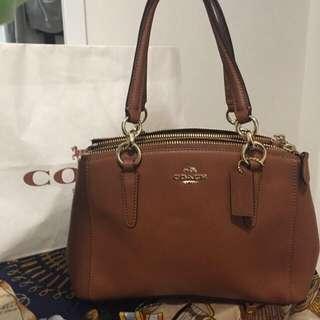 Authentic Leather Saddle Brown Coach Handbag New