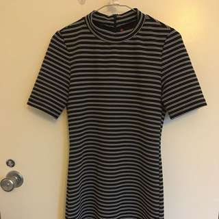 Stripy Turtle Neck Dress Size M