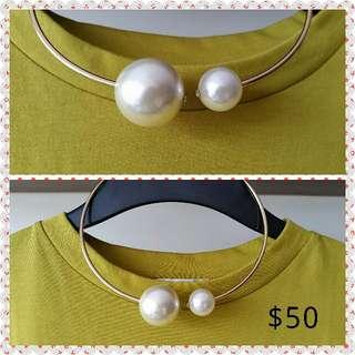 $50韓款型格珍珠choker/  $50 Korean style pearl choker Christmas Gift 聖誕禮物 (元朗鳳琴街體育館或西鐵元朗站交收可減$5)