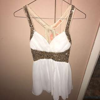 Gold And White Short Party Dress