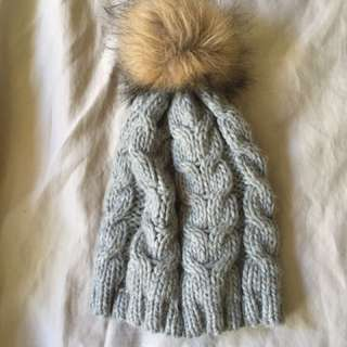 Grey Knit Beanie With Pom Pom