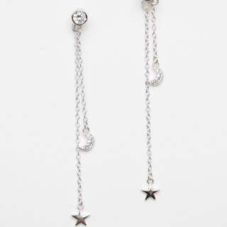 Celestial Star And Moon Drop Earrings 925 Silver