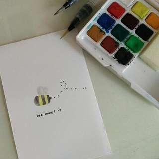 'Bee Mine' Watercolor Card