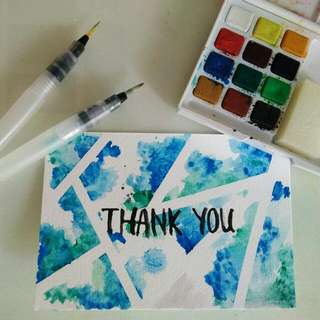 'Thank You' Watercolor Card