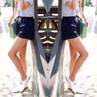 Navy Chiffon Shorts