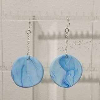 Blue Marble Circle Earrings